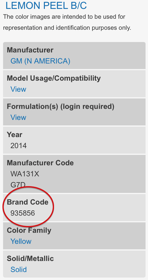 Finding your PPG Brand Code